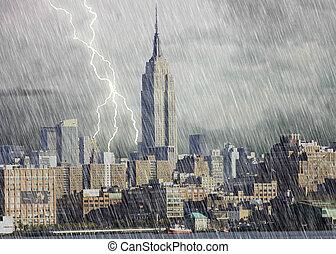 nueva york, tormenta, ciudad