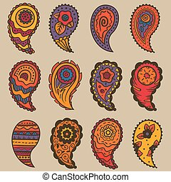 nueve, elementos, cachemira, tibio, colores, ornamento