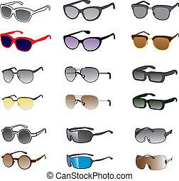 nueve, gafas de sol, estilos