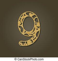 nueve, pattern., oro, número, laser, vector, redondo, ...