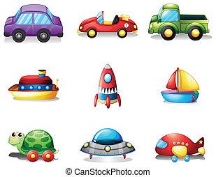 nueve, transportations, diferente, clase, juguete