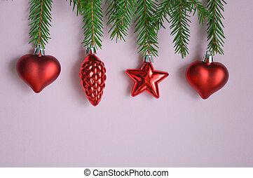 nuevo, árbol, decorations., navidad., luz, tarjeta, alegre, ...
