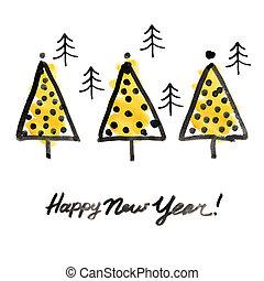 nuevo, árboles, año