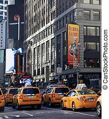nuevo, épocas, york, square., ciudad
