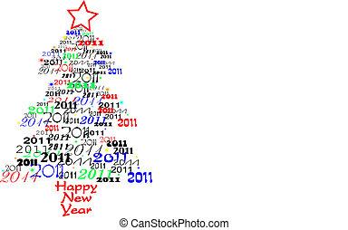 nuevo, 2011, árbol, año