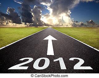 nuevo, 2012, camino, salida del sol, año