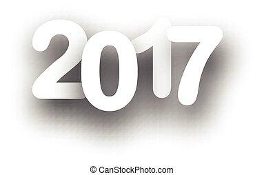 nuevo, 2017, año, blanco, fondo.