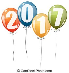 nuevo, 2017, globos, año