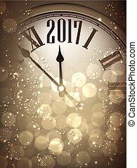 nuevo, 2017, plano de fondo, clock., año