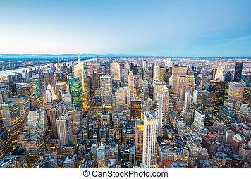 nuevo, aéreo, york, ciudad