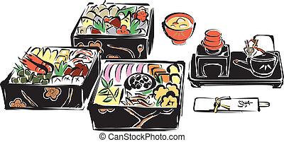 nuevo, alimentos, japonés, año