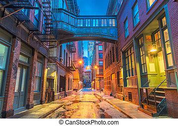 nuevo, alleyways, york, ciudad