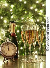 nuevo, anteojos de champán, años