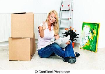 nuevo, apartamento, mujeres