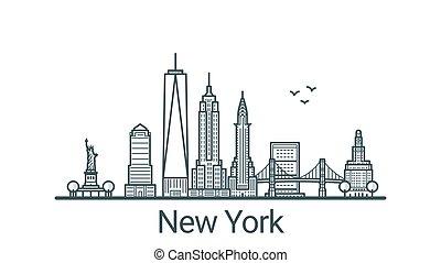 nuevo, bandera, contorno, york