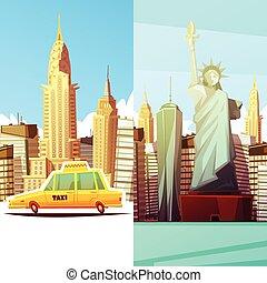 nuevo, banderas, york, vertical, dos