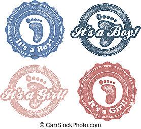 nuevo bebé, niño, o, niña, sellos
