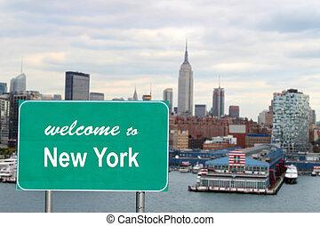 nuevo, bienvenida, york, señal
