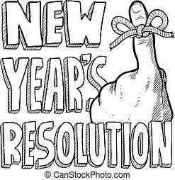 nuevo, bosquejo, resolución, año