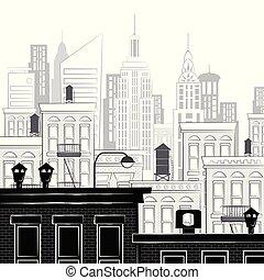 nuevo, bosquejo, vector, york, ilustración
