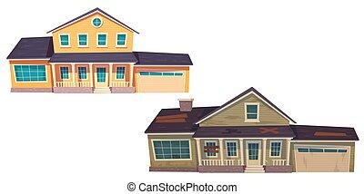 nuevo, cabaña, abandonado, viejo, casa