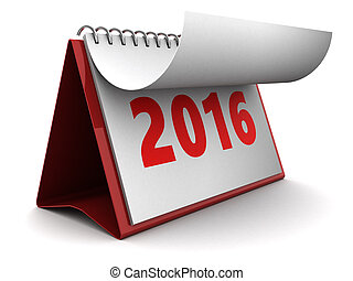 nuevo, calendario, 2016, año