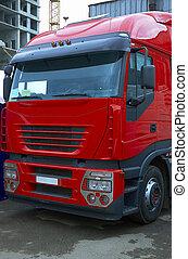 nuevo, camión rojo