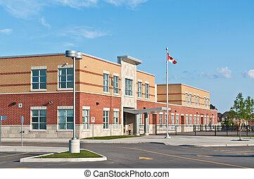 nuevo, canadiense, escuela primaria, edificio