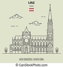 nuevo, catedral, en, linz, austria., señal, icono