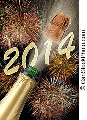 nuevo, champaña, año, 2014