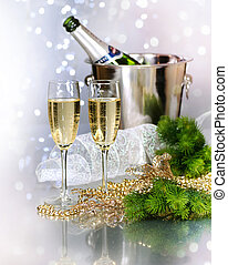 nuevo, champaña., año, celebración