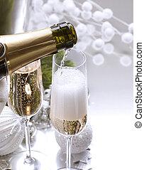 nuevo, champaña, diseño, tarjeta, año