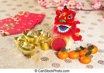nuevo, chino, decoraciones, año