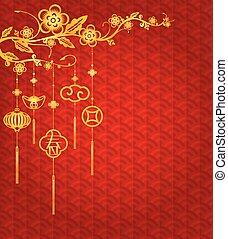 nuevo, chino, plano de fondo, año