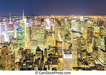 nuevo, ciudad, aéreo, york, noche