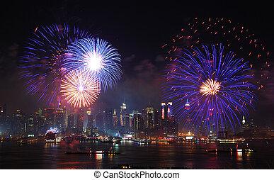 nuevo, ciudad, día, independencia, york