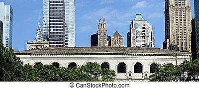 nuevo, ciudad, york, biblioteca, panorama