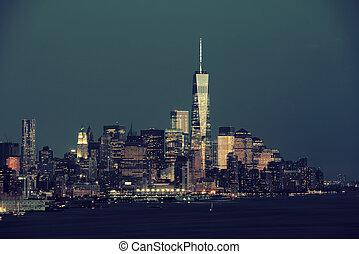 nuevo, ciudad, york, noche