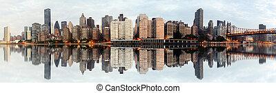 nuevo, ciudad, york, panorama