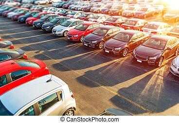 nuevo, coches, comerciante, acción