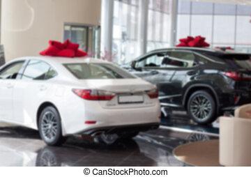 nuevo, coches, en, comerciante, showroom., para, uso, como, un, fondo.