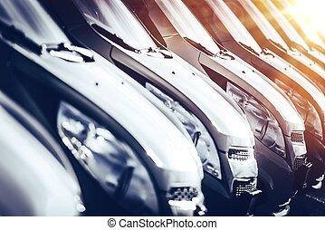 nuevo, coches, industria, concepto