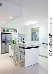 nuevo, cocina, en, un, moderno, hogar