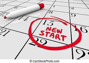 nuevo comienzo, principio, día, dar la vuelta, fecha calendario, 3d, ilustración