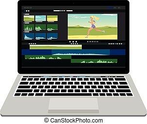 nuevo, computador portatil, con, vídeo, procesamiento,...