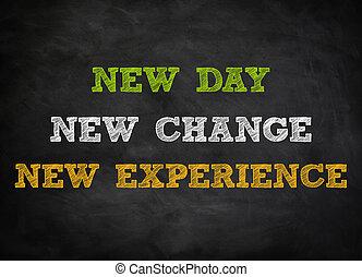 nuevo, concepto, -, pizarra, cambio
