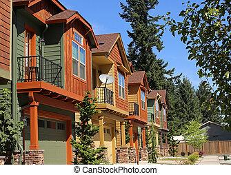 nuevo, condominio, apartamentos, en, suburbano, vecindad