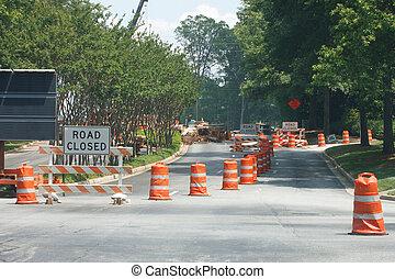 nuevo, construcción, camino cerrado