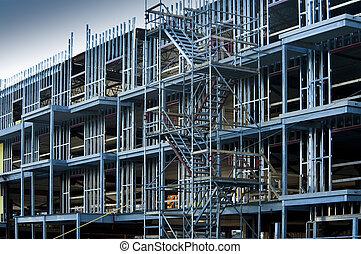 nuevo, construcción, comercial