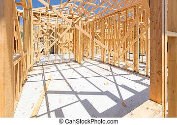 nuevo, construcción, encuadrado, casa
